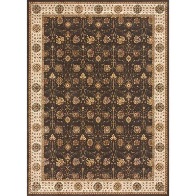 Stanley Hand-Knotted Ivory/Brown Area Rug Rug Size: 52 x 77
