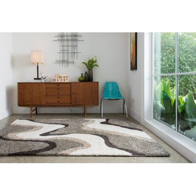 Dania Gray/White Area Rug Rug Size: Rectangle 9 x 12