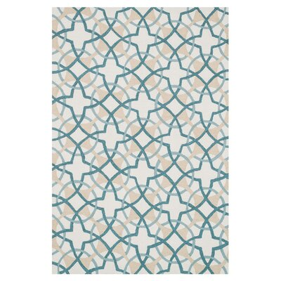 Kips Bay Hand-Woven Ivory/Teal Area Rug Rug Size: Rectangle 76 x 96