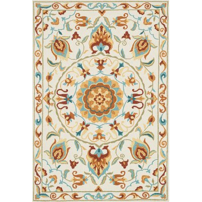 Francesca Hand-Woven Ivory/Sage Area Rug Rug Size: 36 x 56