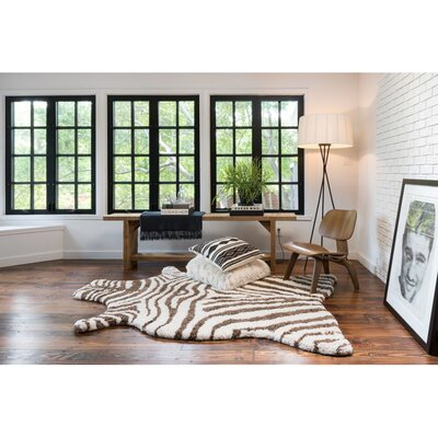 Zebra Stripe Hand-Tufted�Faux Cowhide Ivory/Brown Area Rug Rug Size: Rectangle 36 x 56