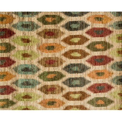 Zakrzewski Hand-Knotted Beige/Blue Area Rug Rug Size: Rectangle 79 x 99
