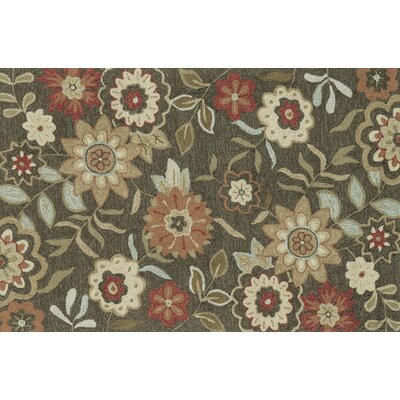 Francesca Hand-Hooked Brown/Green Area Rug Rug Size: Rectangle 23 x 39