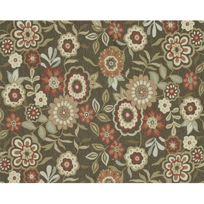 Francesca Hand-Hooked Brown/Green Area Rug Rug Size: 76 x 96
