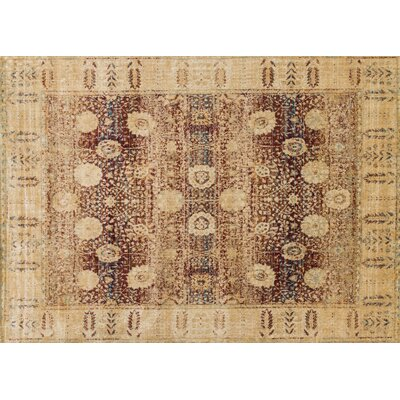 Zehner Red/Gold Area Rug Rug Size: Rectangle 37 x 57