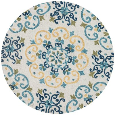 Francesca Moroccan Ivory & Light Blue Area Rug Rug Size: Round 3