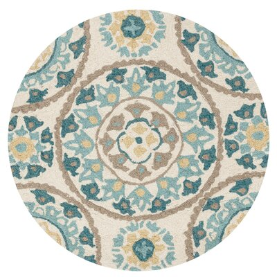 Francesca Hand-Woven Ivory/Blue Area Rug Rug Size: Round 3