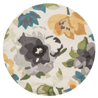 Kips Bay Hand-Woven Ivory Area Rug Rug Size: Round 3