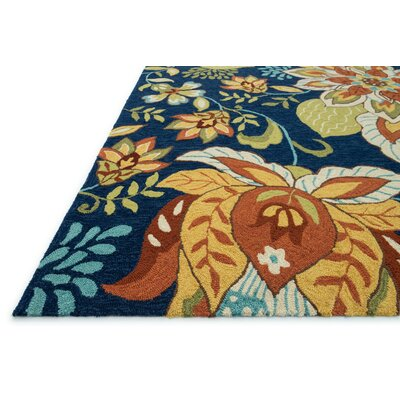 Francesca Hand-Hooked Blue Area Rug Rug Size: Rectangle 76 x 96