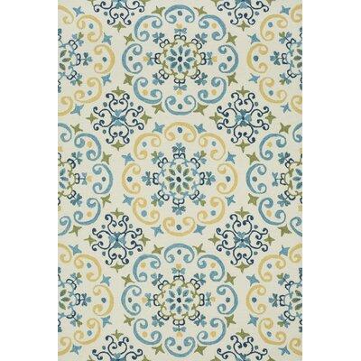 Francesca Hand-Hooked Blue/Ivory Area Rug Rug Size: 7'6