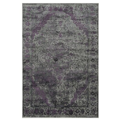Elton Pewter/Purple Area Rug Rug Size: 77 x 105
