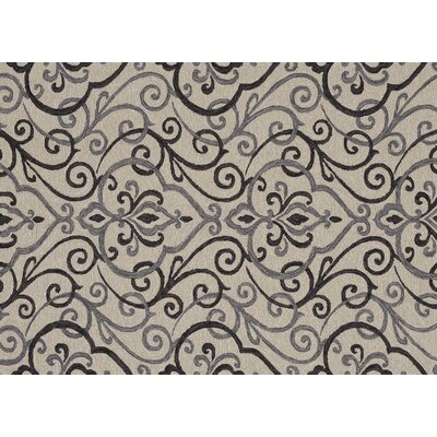 Kips Bay Hand-Hooked Ivory/Gray Indoor/Outdoor Area Rug Rug Size: Rectangle 76 x 96