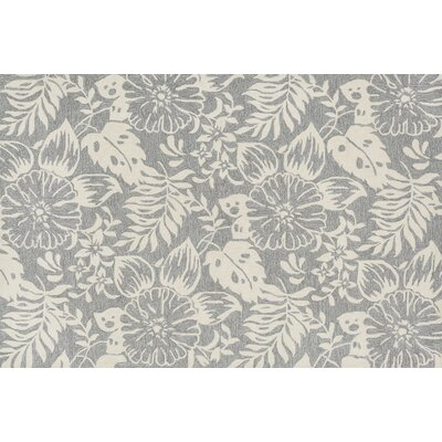 Francesca Hand-Hooked Gray/Ivory Area Rug Rug Size: 36 x 56