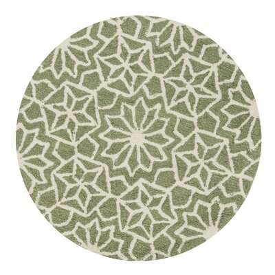Kips Bay Hand-Woven Green Area Rug Rug Size: Round 3