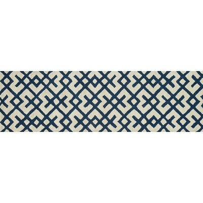 Weston Hand-Tufted Ivory/Navy Area Rug Rug Size: Runner 23 x 76