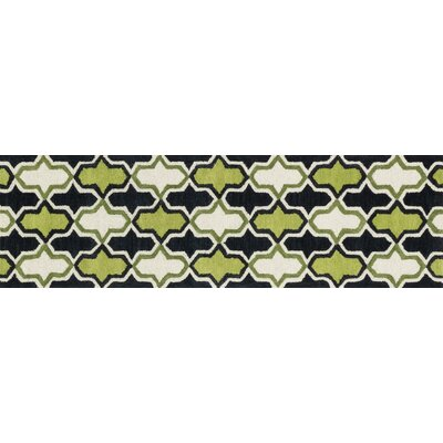 Weston Hand-Tufted Black/Green Area Rug Rug Size: Runner 23 x 76