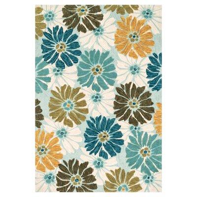 Gabriella Hand-Woven Blue/White Area Rug Rug Size: 36 x 56