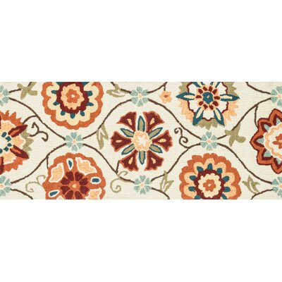 Summerton Hand-Hooked Ivory/Spice Area Rug Rug Size: Runner 2 x 5