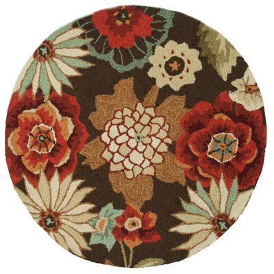 Summerton Hand-Hooked Chestnut Area Rug Rug Size: Round 3