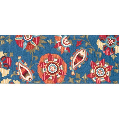 Summerton Hand-Hooked Blue/Red Area Rug Rug Size: Runner 2 x 5