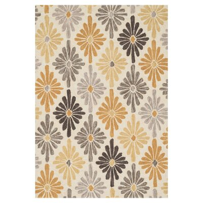Gabriella Hand-Woven Ivory/Gold Area Rug Rug Size: 23 x 39