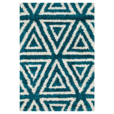 Nalder Blue/Ivory Area Rug Rug Size: Rectangle 77 x 105