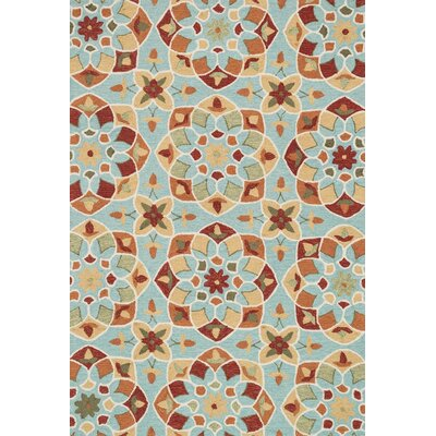 Francesca Hand-Woven Turquoise/Gold Area Rug Rug Size: 36 x 56