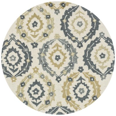 Francesca Hand-Hooked Ivory/Graphite Floral Area Rug Rug Size: Rectangle 76 x 96