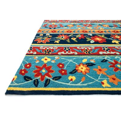 Fairfield Hand-Tufted Blue/Red Area Rug Rug Size: 36 x 56
