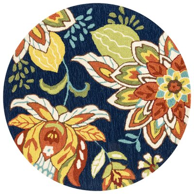 Francesca Hand-Hooked Blue/Orange Area Rug Rug Size: 5 x 76