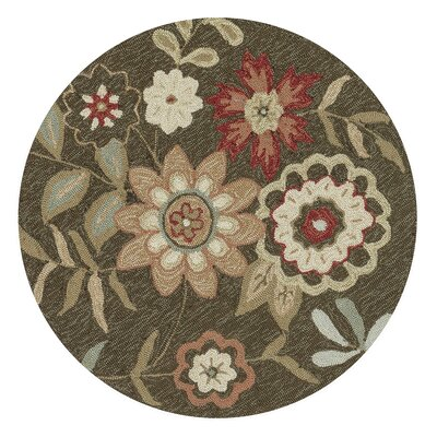 Kips Bay Hand-Hooked Brown/Green Area Rug Rug Size: Round 3