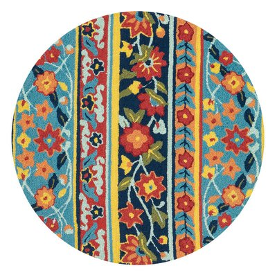 Fairfield Hand-Tufted Blue/Red Area Rug Rug Size: Round 3