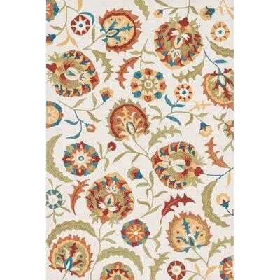 Francesca Hand-Woven Ivory/Spice Area Rug Rug Size: 36 x 56