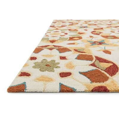 Francesca Hand-Woven Ivory/Spice Area Rug Rug Size: 36 x 56