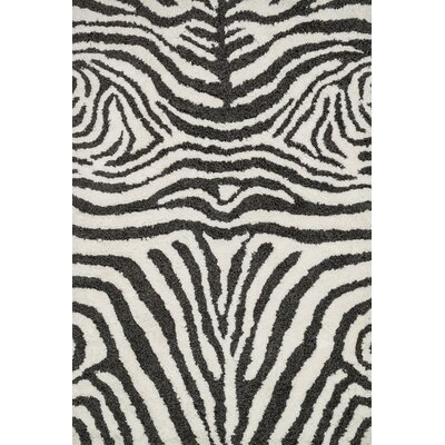 Kiara Shag Ivory/Charcoal Area Rug Rug Size: Rectangle 23 x 39