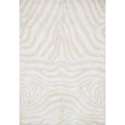 Kiara Shag Hand-Tufted Ivory/Cream Area Rug Rug Size: Rectangle 36 x 56