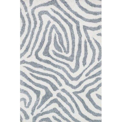 Kiara Shag Ivory/Gray Area Rug Rug Size: 36 x 56