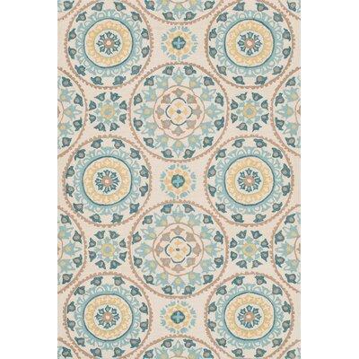 Francesca Hand-Woven Ivory/Blue Area Rug Rug Size: 23 x 39