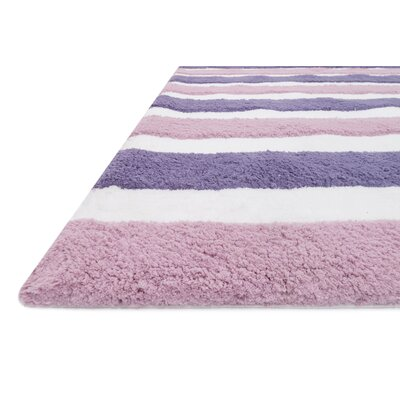 Stripe Out Hand-Woven Plum/Lilac Area Rug Rug Size: Rectangle 5 x 7
