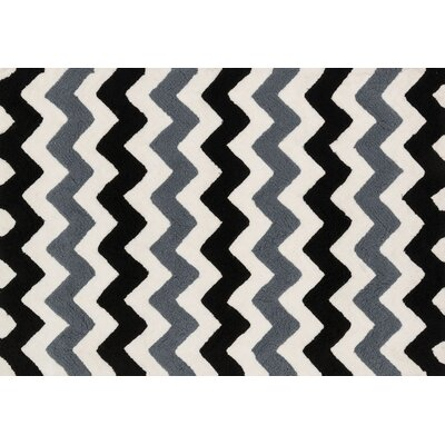 Lola Shag Handmade Black/Charcoal Area Rug Rug Size: Round 3