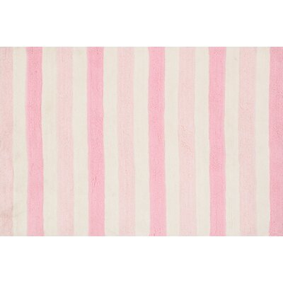 Lola Shag Handmade Pink/White Area Rug Rug Size: Round 3