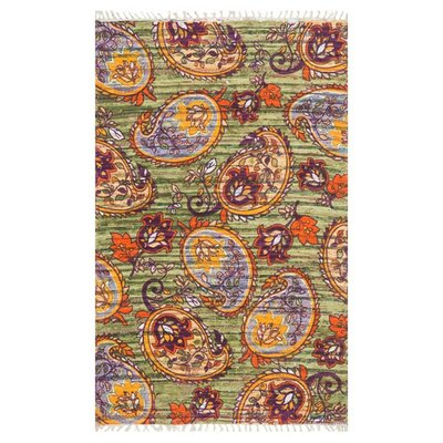 Aria Green/Orange Area Rug Rug Size: 36 x 56