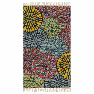 Aria Light Blue/Red/Yellow Area Rug Rug Size: 36 x 56