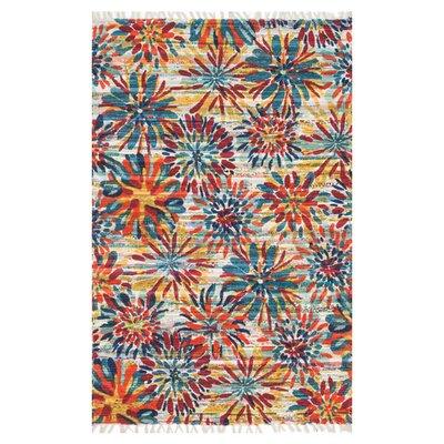 Aria Ivory/Orange/Blue Area Rug Rug Size: 36 x 56