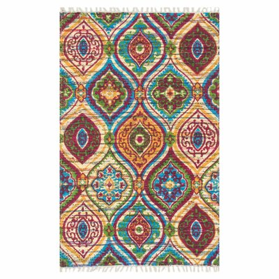 Aria Blue/Orange Area Rug Rug Size: 23 x 39