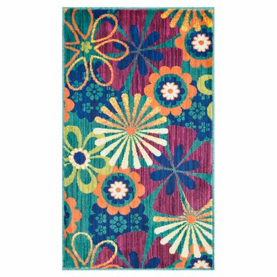 Isabelle Blue/Pink Area Rug Rug Size: Rectangle 22 x 39