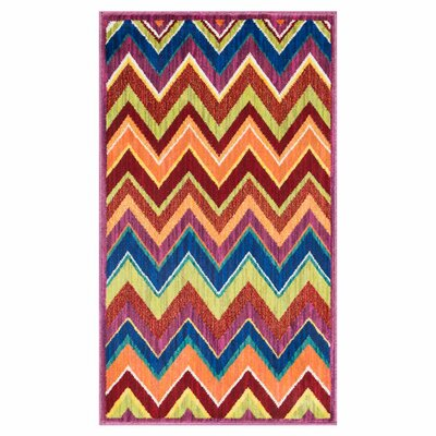 Isabelle Pink/Red/Blue Area Rug Rug Size: Rectangle 22 x 5