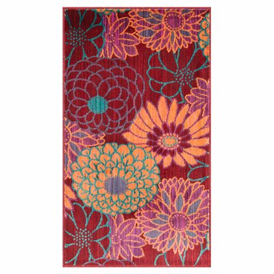 Nanava Red Area Rug Rug Size: Rectangle 17 x 26