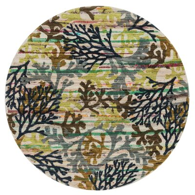 Aria Gray/Green Area Rug Rug Size: Round 3