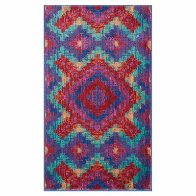 Isabelle Blue/Red Area Rug Rug Size: 22 x 39